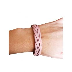 "SMALL LEATHER BRACELET ""BRAID"" (BEIGE) 22 CM"