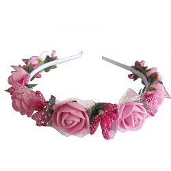 "Hairband ""Small Rose"" white and pink"