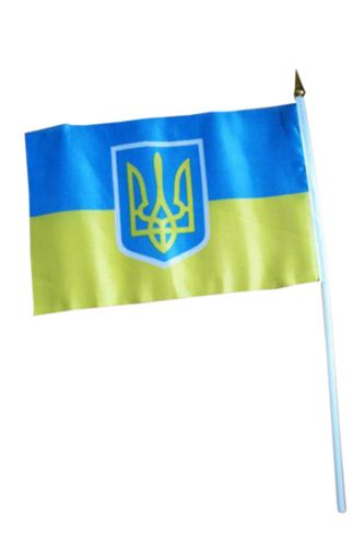 Ukrainian flag on a stick