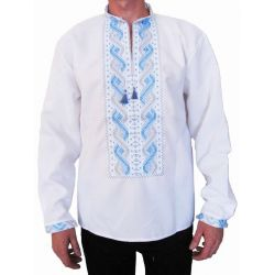 "Embroidered mens shirt ""Sky"" (white with gray-blue embroidery)"
