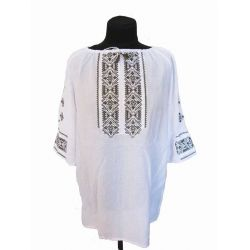 "Blouse embroidered female ""Green gai"" (white with green embroidery)"
