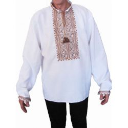 "Embroidered man's shirt ""Will"" (white with brown embroidery)"