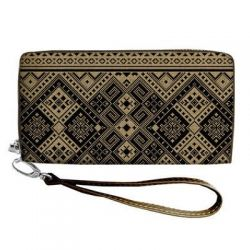 "Clutch purse ""Yellow and black Embroidery"""