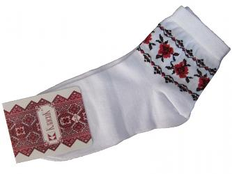 "Embroidered socks ""Red flowers"""