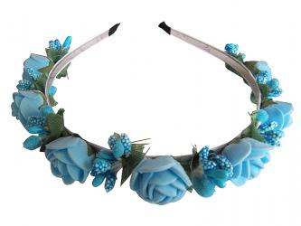 "Hairband ""Small Rose"" blue"